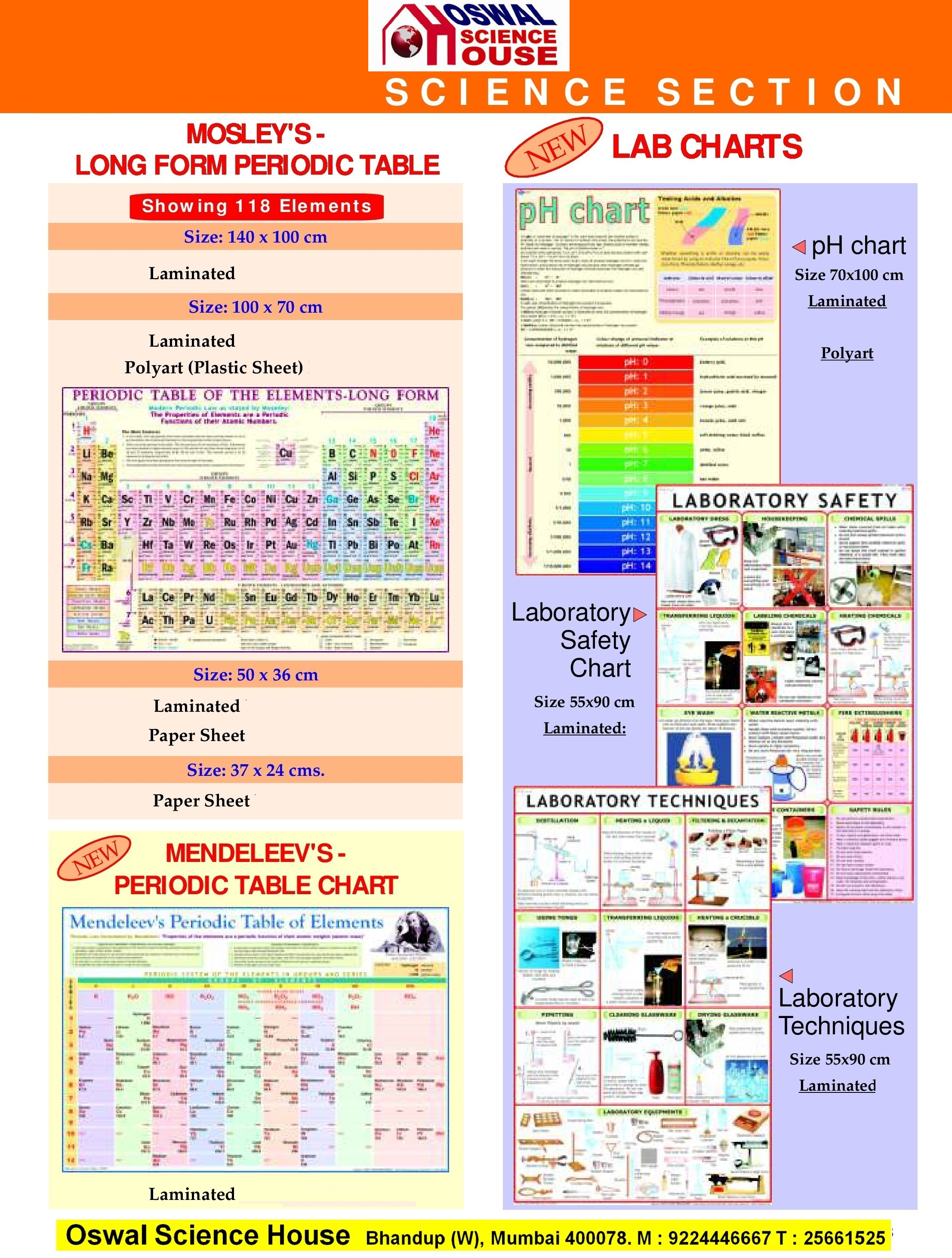 OSWAL SCIENCE HOUSE - Chemistry Laminated Charts